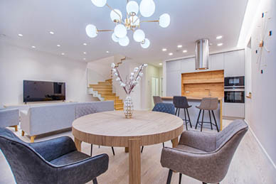 This picture shows light installation in Parker. Beautiful home with pendants, chandelier and recessed lights.