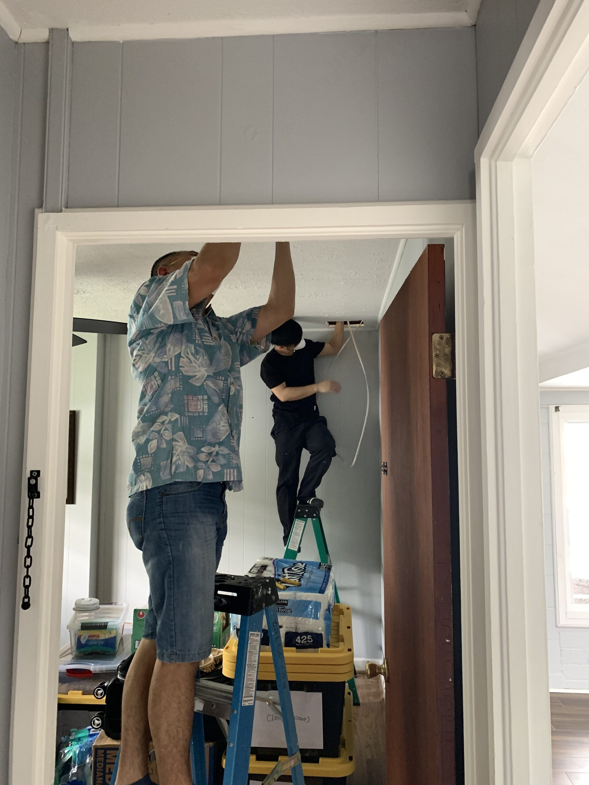 this picture shows an electrician wiring a house in Parker CO. It is wiring for a new construction,